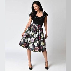 NWT Unique Vintage Roses Skirt